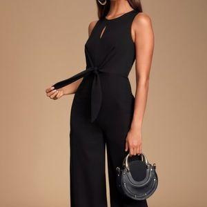 Lulus Evelyn Black Tie Front Wide Leg Jumpsuit